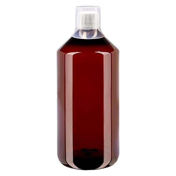 1000 ml PET Medizinflaschen mit weißem Schraubverschluss OV und Dosierbecher 30ml Naturfarbe
