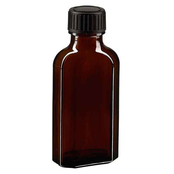 50 ml braune Meplatflasche mit DIN 22 Mündung, inklusive Schraubverschluss DIN 22 schwarz