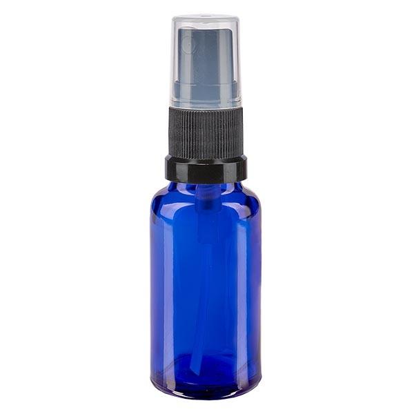 Blauglasflasche 20ml mit Pumpzerstäuber schwarz