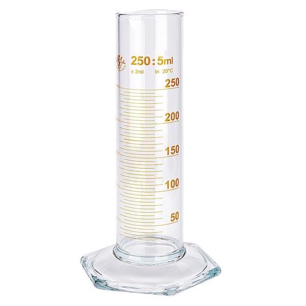 Messzylinder 250ml braun graduiert niedrige Form ISO 4788