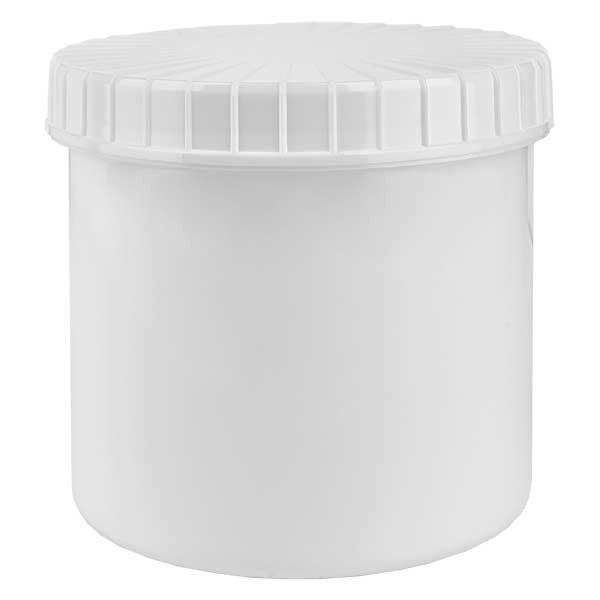 Kunststoffdose 375ml weiss mit gerilltem weissen Schraubdeckel aus PE, Verschlussart Standard