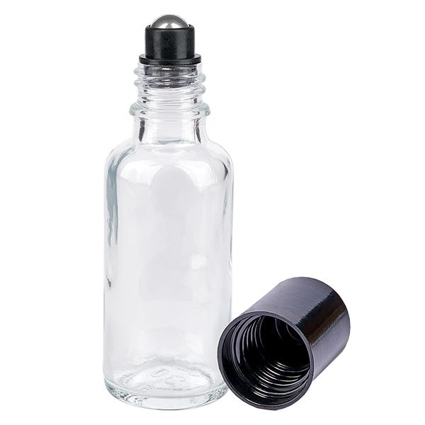 Glas Deostick Flasche klar 30ml, leerer Deo Roller (Roll On)