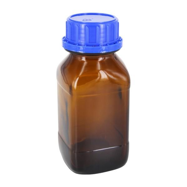 250 ml quadratische Weithalsflasche Braunglas inkl. Schraubverschluss OV DIN45 blau mit EPE-Einlage
