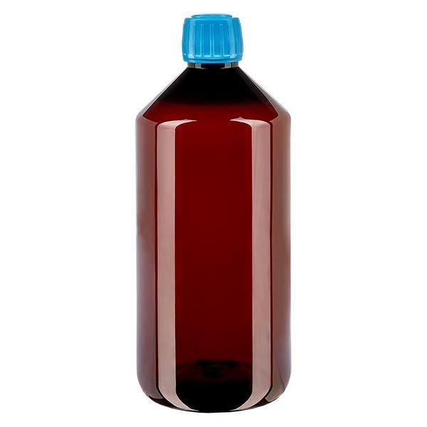PET Medizinflasche 1000ml braun (Veralflasche) PP28, mit blauem OV