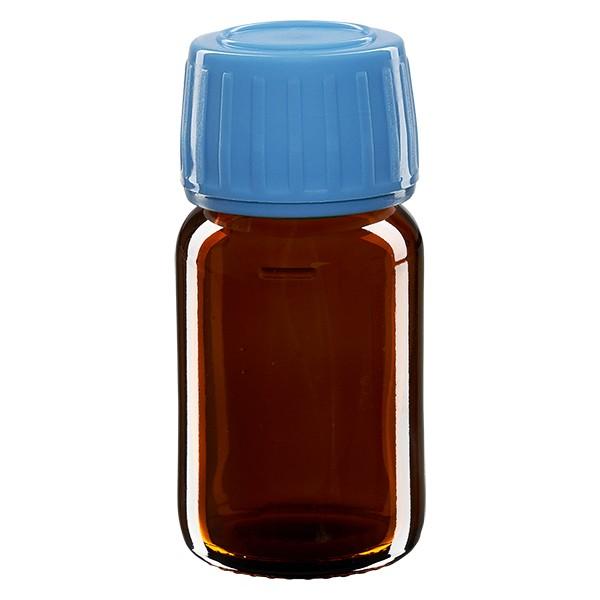 30ml Euro-Medizinflasche braun mit blauem Schraubverschluss OV