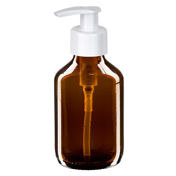 150ml Euro-Medizinflasche braun mit weisser Dispenserpumpe