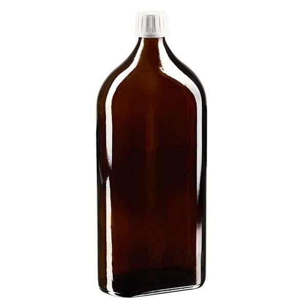 1.000 ml braune Meplatflasche mit DIN 28 Mündung, inklusive Schraubverschluss OV DIN 28 weiss aus P