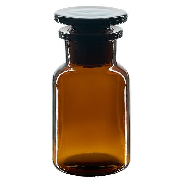 Apothekerflasche 100 ml Weithals Braunglas inkl. Glasstopfen