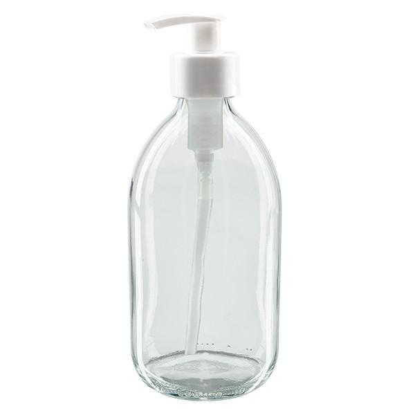 500ml Euro-Medizinflasche klar mit weisser Dispenserpumpe
