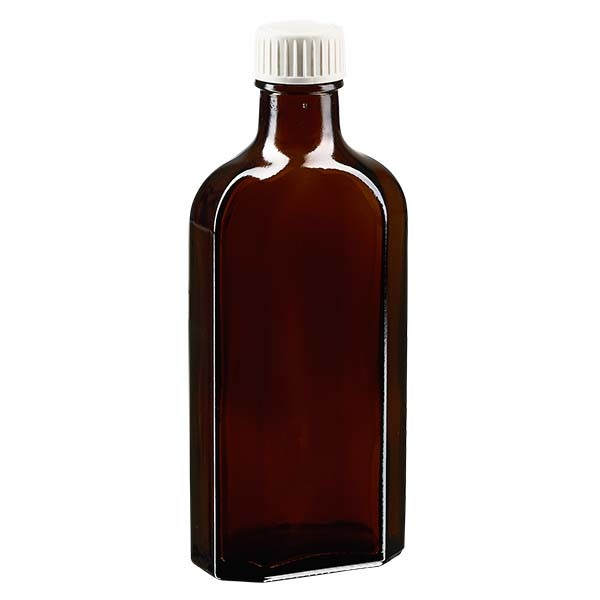 150 ml braune Meplatflasche mit DIN22 Mündung, inkl. Schraubverschluss weiss aus PP mit PE-Schaumein