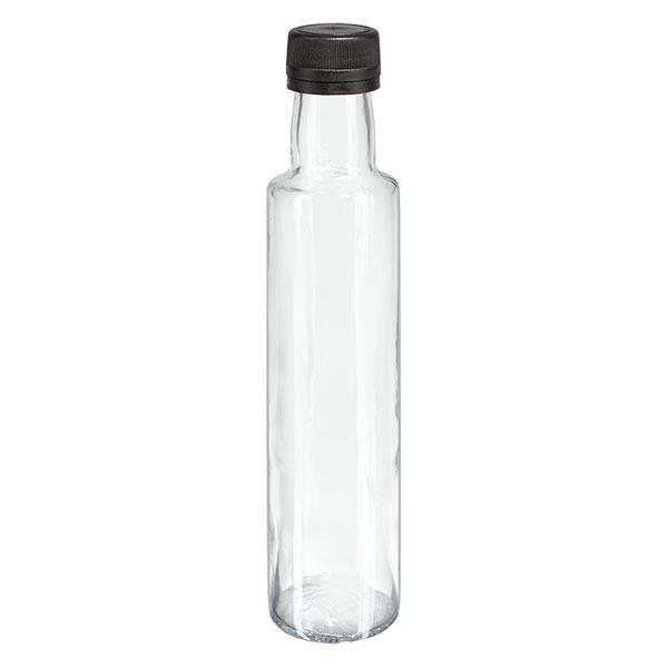 250ml Likörflasche rund Klarglas inkl. Schraubverschluss Schwarz (PP 31.5mm) mit Ausgiessring OV