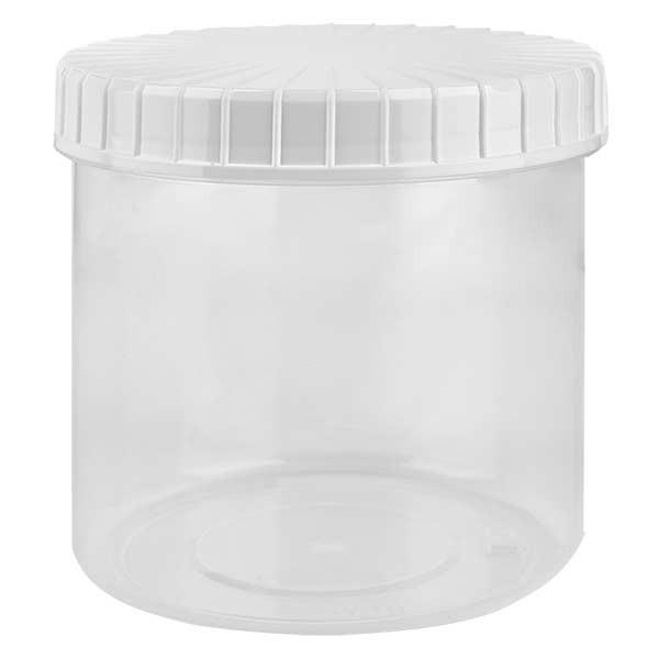 Kunststoffdose 375ml transparent mit gerilltem weissen Schraubdeckel aus PE, Verschlussart Standard
