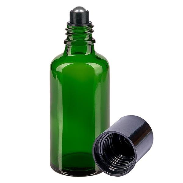 Glas Deostick Flasche grün 50ml, leerer Deo Roller (Roll On)