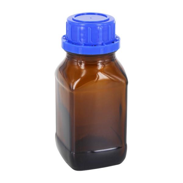 100 ml quadratische Weithalsflasche Braunglas, inkl. Schraubverschluss OV DIN32 blau mit EPE-Einlage