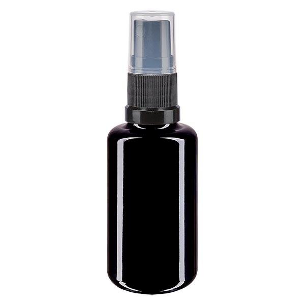 Violettglasflasche 30ml mit Pumpzerstäuber schwarz