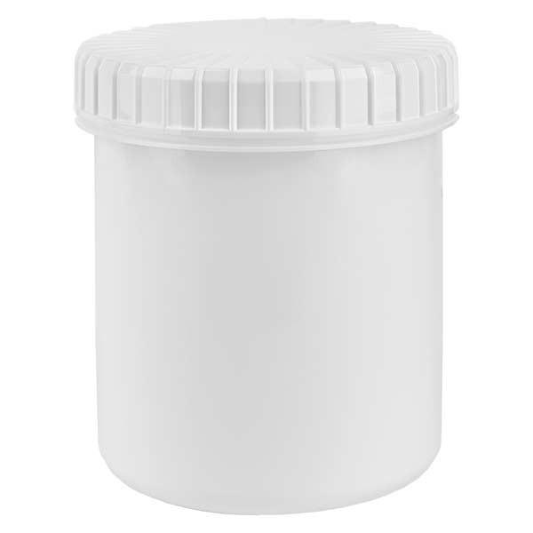 Kunststoffdose 180ml weiss mit gerilltem weissen Schraubdeckel aus PE, Verschlussart Standard