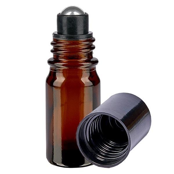 Glas Deostick Flasche braun 5ml, leerer Deo Roller (Roll On)