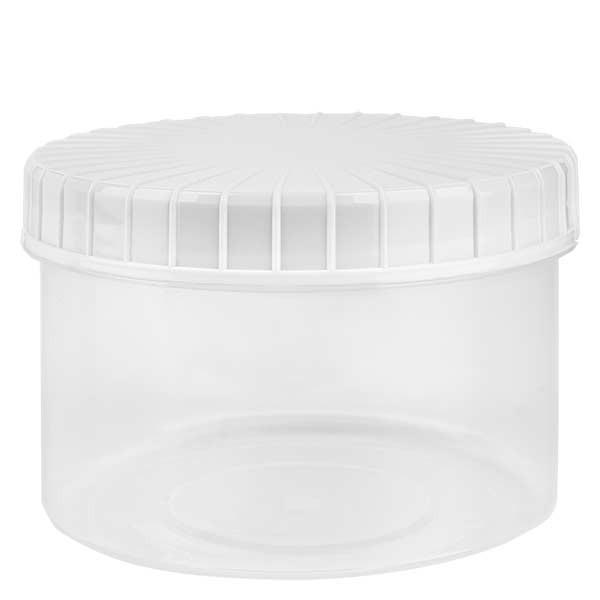 Kunststoffdose 250ml transparent mit gerilltem weissen Schraubdeckel aus PE, Verschlussart Standard