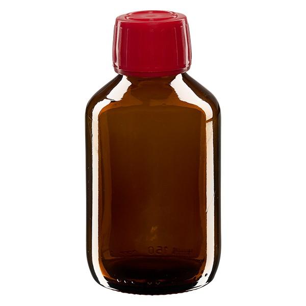 150ml Euro-Medizinflasche braun mit rotem Schraubverschluss OV