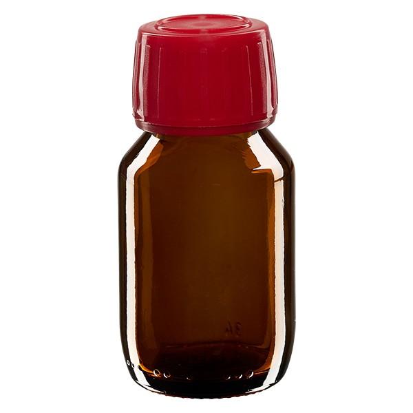 50ml Euro-Medizinflasche braun mit rotem Schraubverschluss OV