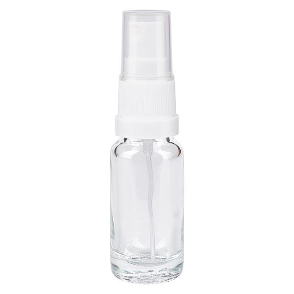 Klarglasflasche 10ml mit Pumpzerstäuber weiss