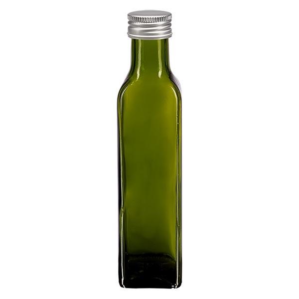 250ml Ölflasche eckig Olivgrün inkl. Alu Schraubverschluss Silber (PP 31.5mm)