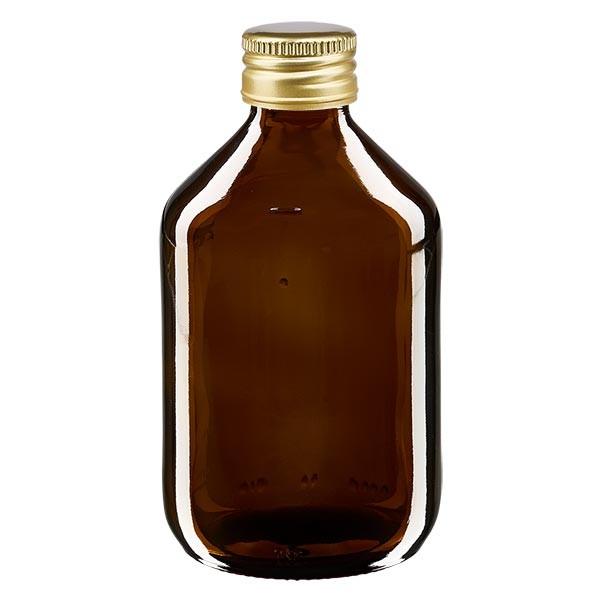 300ml Euro-Medizinflasche braun mit goldenem Aluminiumverschluss