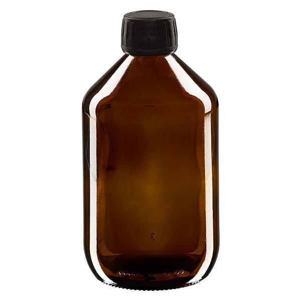 500ml Euro-Medizinflasche braun mit schwarzem Schraubverschluss OV