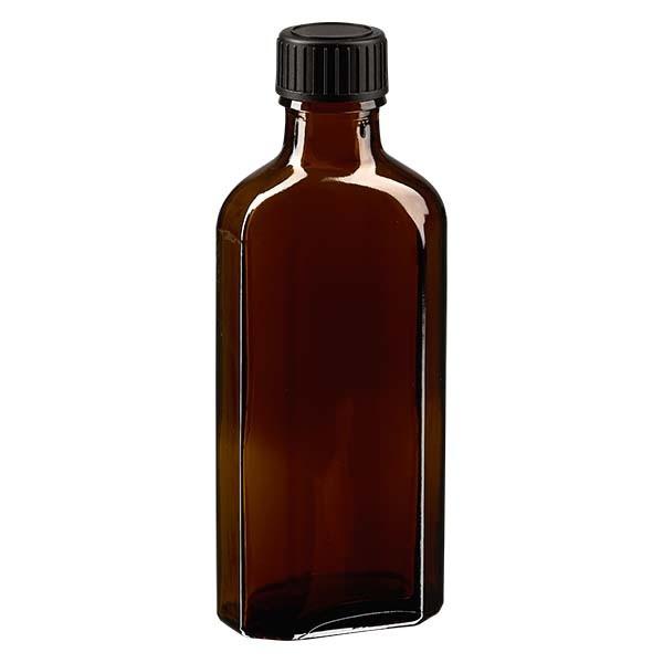 100 ml braune Meplatflasche mit DIN 22 Mündung, inklusive Schraubverschluss DIN 22 schwarz aus EPE (