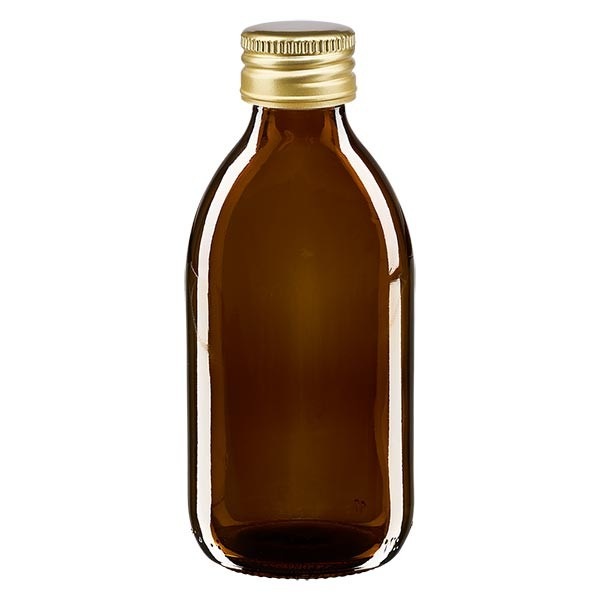 250ml Euro-Medizinflasche braun mit goldenem Aluminiumverschluss