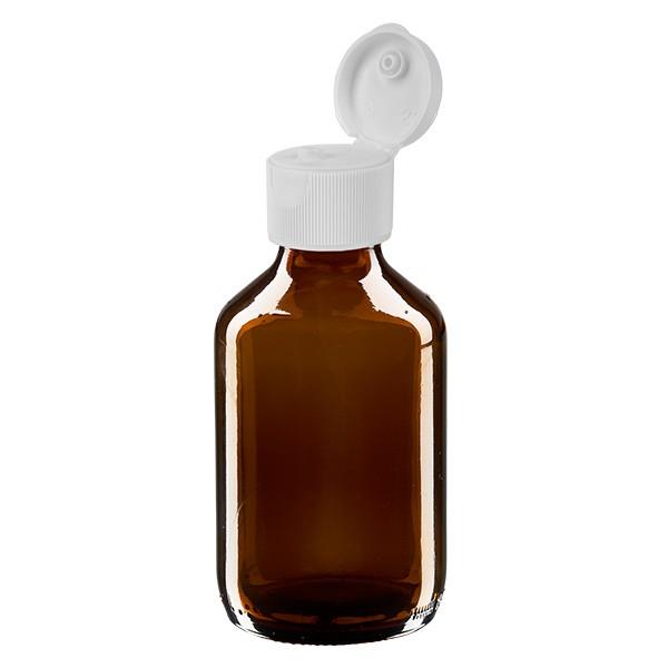 150ml Euro-Medizinflasche braun mit weissem Klappverschluss