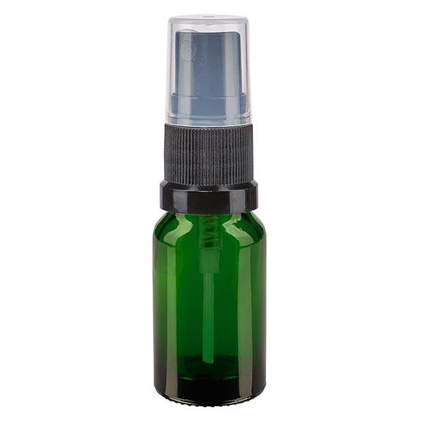 Grünglasflasche 10ml mit Pumpzerstäuber schwarz
