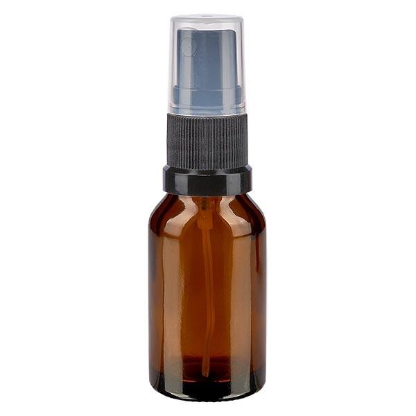 Braunglasflasche 30ml mit Pumpzerstäuber schwarz