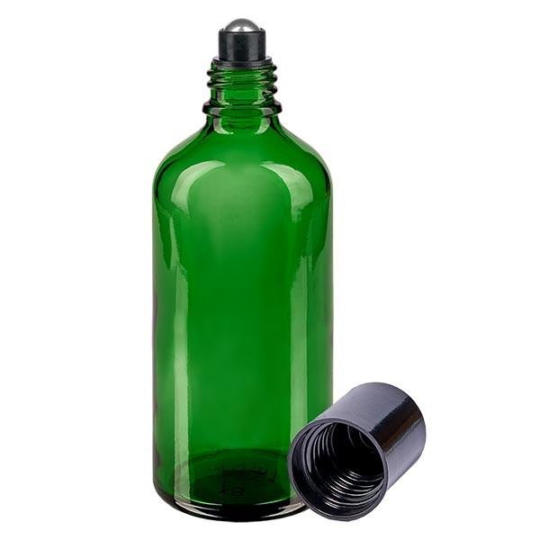 Glas Deostick Flasche grün 100ml, leerer Deo Roller (Roll On)