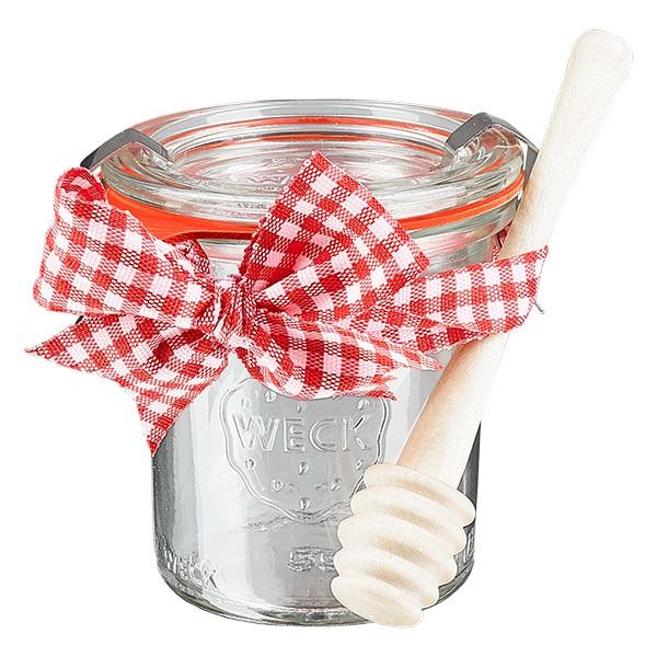 WECK-Mini-Sturzglas 140ml komplett mit Honiglöffel und Schleife