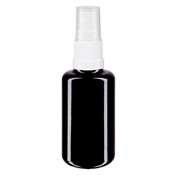 Violettglasflasche 30ml mit Pumpzerstäuber weiss