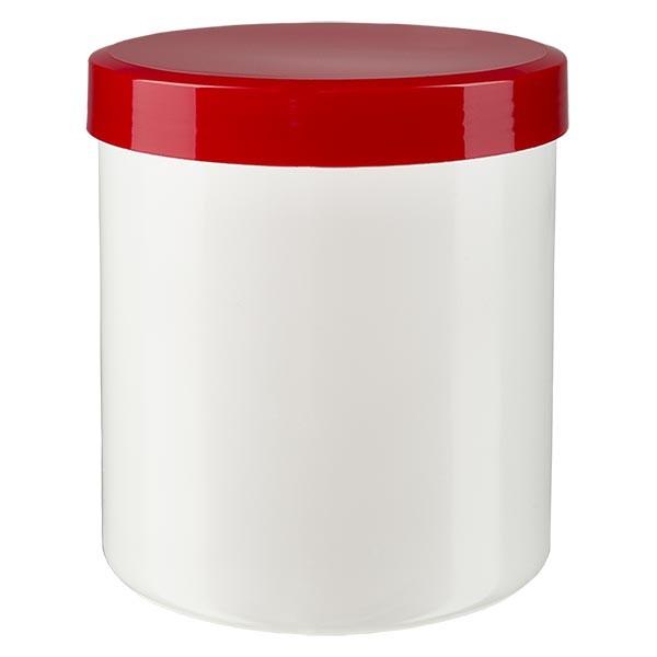 Salbenkruke 50g weiss mit Schraubdeckel rot (PP)