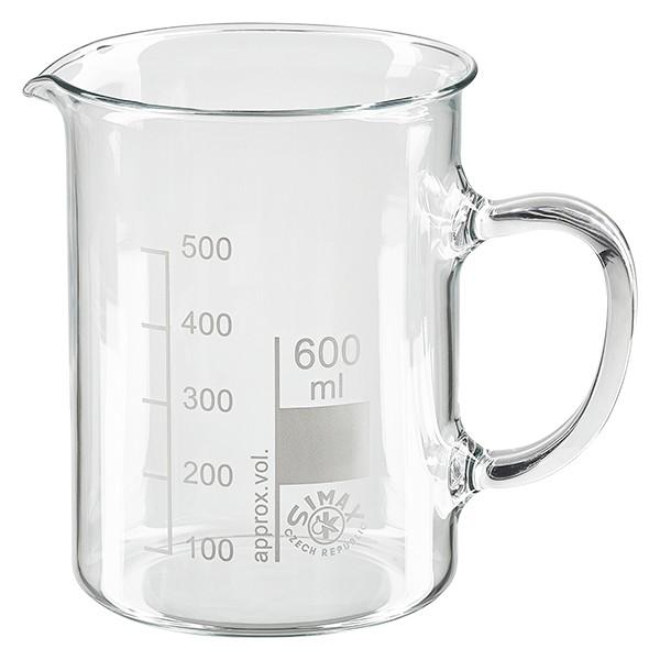 Becherglas 600ml mit Henkel aus hitzefestem Borosilikatglas (normale Form)