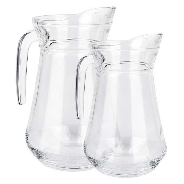 Glaskannenset France 1.0 + 1.6 Liter aus gehärtetem Klarglas aus Frankreich