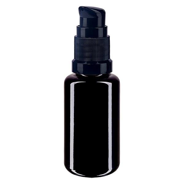 Violettglasflasche 20ml mit Pumpverschluss schwarz