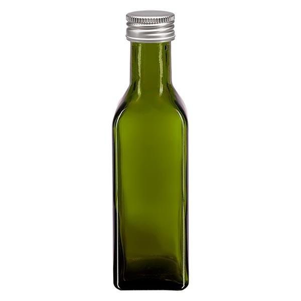 100ml Ölflasche eckig Olivgrün inkl. Alu Schraubverschluss Silber (PP 24mm)