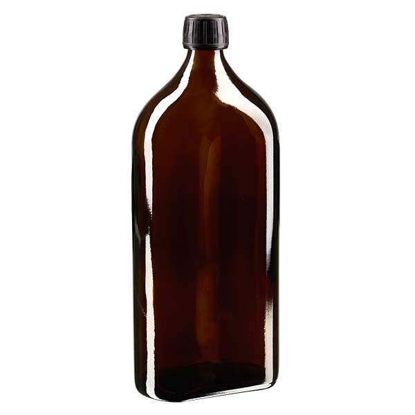 1.000 ml braune Meplatflasche mit DIN 28 Mündung, inklusive Schraubverschluss OV DIN 28 schwarz aus