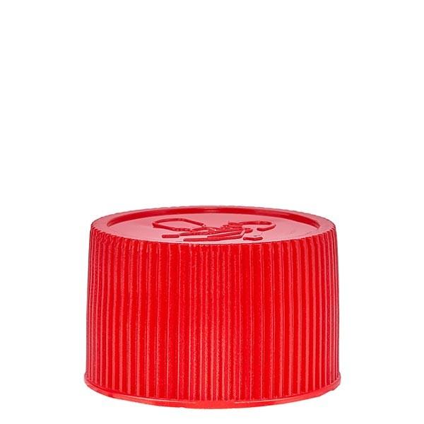 Schraubverschluss 25mm rot PP mit Kindersicherung