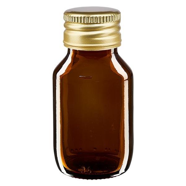 50ml Euro-Medizinflasche braun mit mit goldenem Aluminiumverschluss