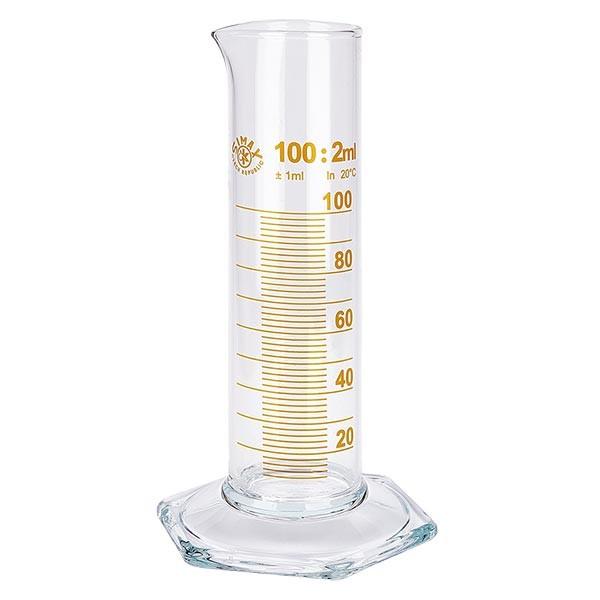 Messzylinder 100ml braun graduiert niedrige Form ISO 4788