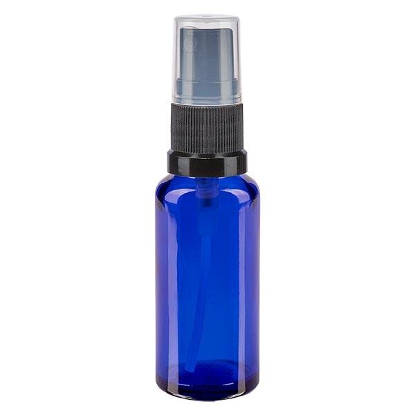Blauglasflasche 30ml mit Pumpzerstäuber schwarz