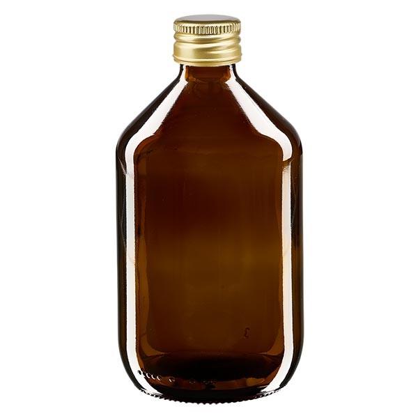 500ml Euro-Medizinflasche braun mit goldenem Aluminiumverschluss