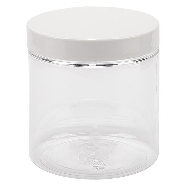 PET Schraubdose 250 ml klar inkl. weissem Deckel