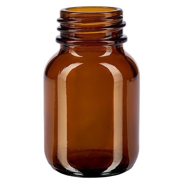 Weithalsflasche 50ml Braunglas mit DIN 32 Mündung ohne Verschluß